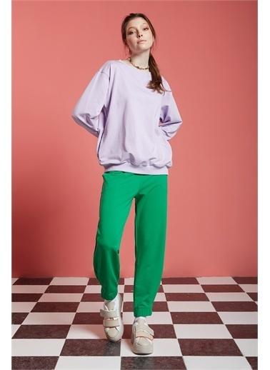 Mizalle Basic Beli Lastikli Jogger Pantolon  Yeşil